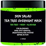 Skinsalad Tea Tree Overnight Face mask with Tea tree, Neem, Aloevera, anti acne gel mask, blemish and dark spot removal, even skin tone, brightening and intense repair 100ml