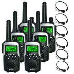 10Km Binatone Action 1100 2 Two Way Radio Walkie Talkie with 6 x Comtech CM-115TH PTT/VOX Throat mics for Skiing & Go KartinG - Six pack