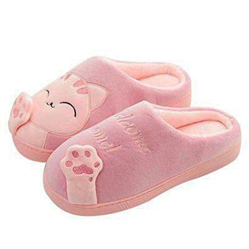 Habe Plüsch (GESIMEI Kuschelige Katze Pantoffeln Warm Plüsch Hausschuhe Winter Bequeme Rutschfeste Slippers Herren Damen Rot 40)