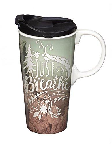 Cypress Home Atmen unterwegs aus Keramik Kaffee Becher mit Geschenk-Box, 17Unzen (Becher Cypress Deckel Home)