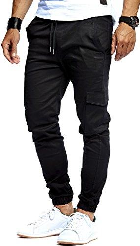 LEIF NELSON Herren Jogger Chino Cargo Jeans Hose Freitzeithose LN8071; Größe M; Schwarz