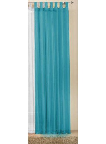 Transparente einfarbige Gardine aus Voile, viele attraktive Farben, 245x140, Türkis, 61000