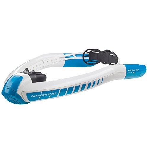 POWERBREATHER AMEO Sport (blau) - die Schnorchel Innovation - 100% frische Luft, Keine Pendelatmung durch patentierte Ventiltechnik (Schnorchel, Schnorchelset, Tauchset)