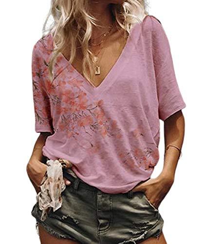 DEMO SHOW Damen T Shirts Sommer V Ausschnitt Kurzarm Farbverlauf Freizeit Locker Bluse Tunika Tops (Floral-Rosa, 2XL) -