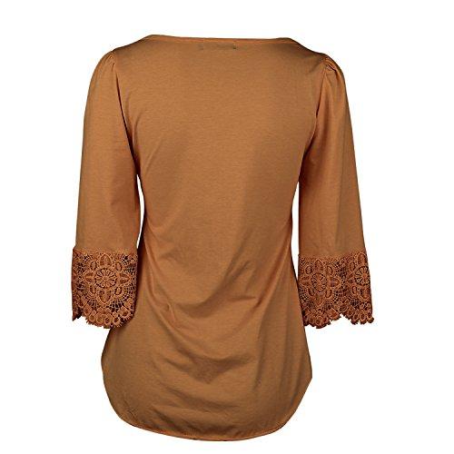 SUNNOW Damen Langarmshirt Neue Mode Vier Jahreszeiten Tops V-Ausschnitt Einfarbig Aufdruck Spitze T-Shirt Locker Faltenbluse Orange