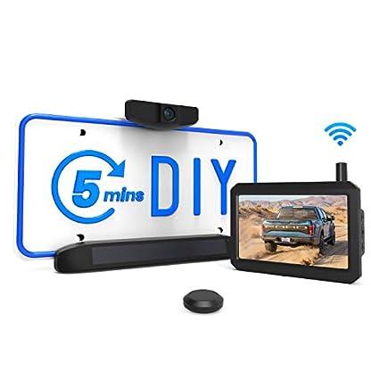 AUTO-VOX-Solar-Kabellos-Rckfahrkamera-Set-5-Min-DIY-Installation-mit-5-Zoll-Monitor-und-Wasserdicht-IP68-Nachtsicht-HD-Backup-AutoKamera-fr-Pkw-Kleinst-und-MittelklassewagenSolar-1