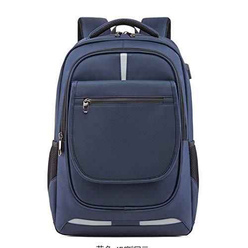 GJF Studentenrucksack, Schultaschen mit USB-Ladeanschluss, für 17-Zoll-Computer-Tasche für Mädchen und Jungen, College Oxford, wasserdichter Tagesrucksack-blue