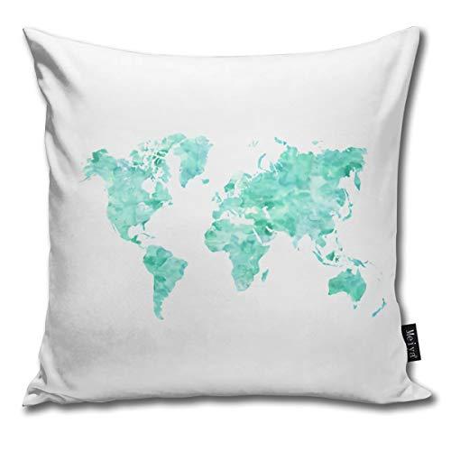 Rasyko - Funda de cojín con diseño de Mapa del Mundo Envejecido en Aguamarina y Verde...