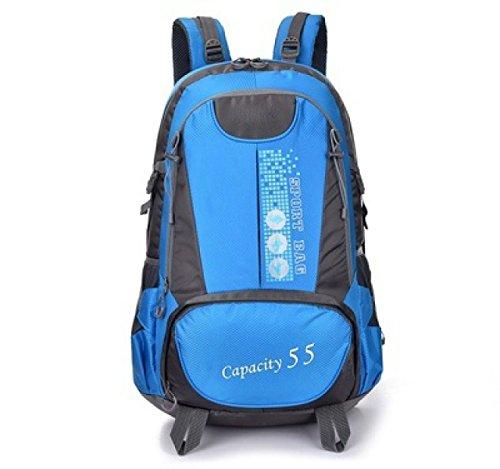 LQABW Wasserdichte Outdoor-Klettern Tourismus Oxford Tuch Polyester Atmungsaktiv Durable Wandern Camping Bergsteigen Rucksack Tasche Blue