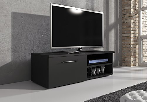 TV Möbel Lowboard TV-Element TV Schrank TV-Ständer Entertainment Lowboard Vegas Schwarz Matt 120 cm