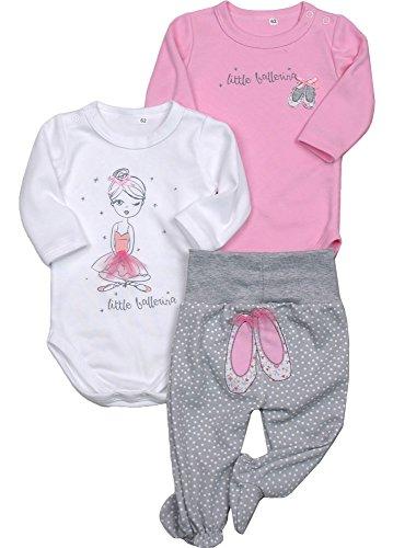 Be Mammy Body Pack de 2 Piezas para Bebé-Ni?as und Hose Balerina 8105 (Blanco/Rosa/Gris Melange, 4-5 Mes)