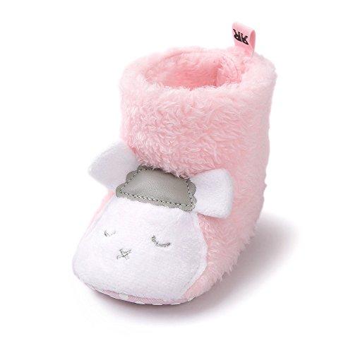Estamico Kleinkind Baby Jungen Mädchen Panda Hausschuhe Schuhe Warme Fleece Winter Stiefel Schaf Rosa 6-12 Monate (Fleece-winter-stiefel)