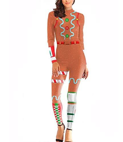 POIUYT Weihnachtsfestung Night Merry Marauder Cosplay Siamese Eng Anliegende Kleidung Show Kostüm Thema Party Requisiten Halloween Erwachsene Maskerade Strumpfhosen,Yellow-XL