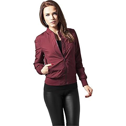 Ladies Light Bomber Jacket Urban Classics Streetwear Chaqueta Para Mujer, Burgundy, M