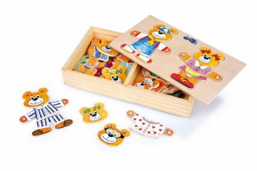 Holzpuzzle Anzieh-Bär und Bärenfrau, in einer schönen Holzschachtel ideal zum Mitnehmen, zahlreiche Anziehmöglichkeiten und lustige Outfits kreieren, für Kinder ab 3 Jahren