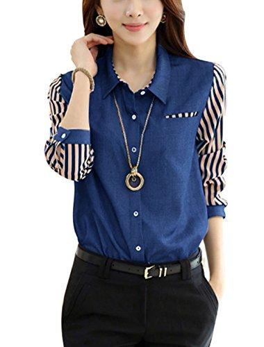 Femme Veste Droite Mousseline De Soie Patchwork Unique Buste Poche Chemise En Jeans Bleu