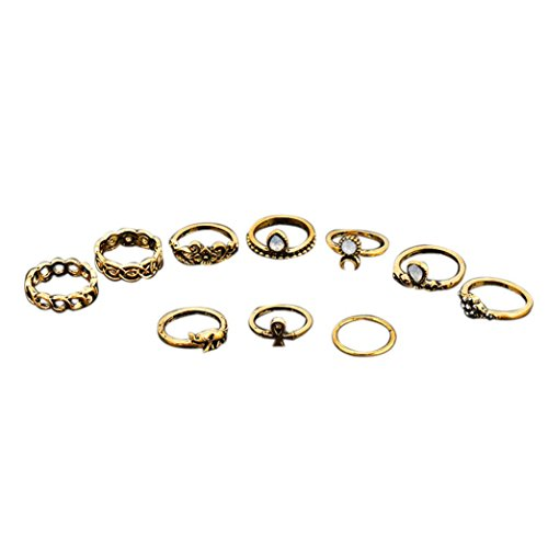 JACKY 10Pcs/ Set Boho Arrow Moon Midi Finger Knuckle Rings set (Gold)