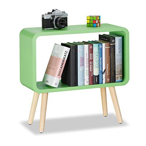 Relaxdays tavolino da salotto e comodino basso, legno, verde, 50 x 53 x 20 cm