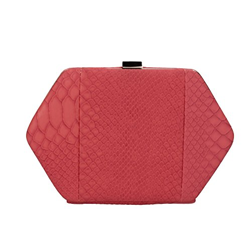 NALì pochette borsa a mano donna rosso corallo pelle pitonata AF215