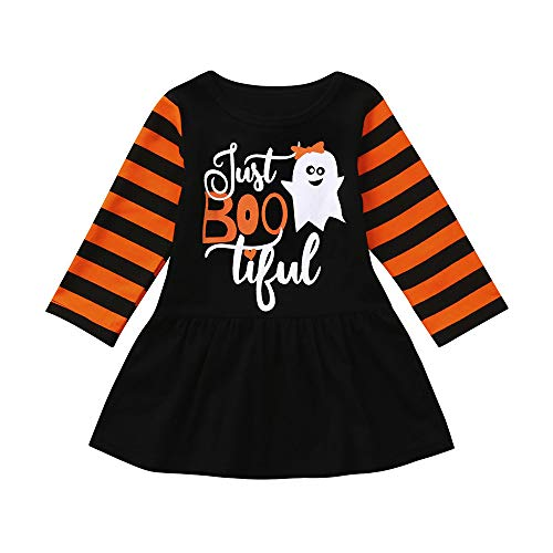(Riou Kinder Langarm Halloween Kostüm Top Set Baby Kleidung Set Infant Kleinkind Baby Mädchen Geist Cartoon Party Kleid Halloween Kleidung Kleider (Schwarz, 110))