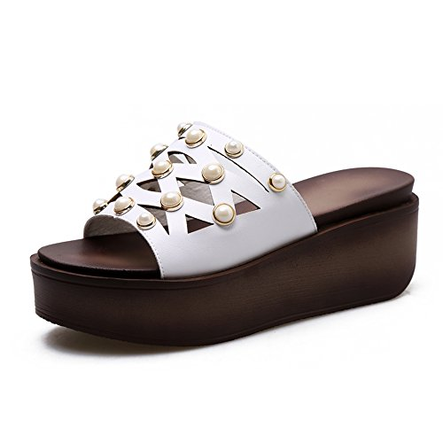 Estate Sandali Sandalo delle donne Estate Comfort PU Casual Cuneo Heel Split Joint Camminare Colore / formato facoltativo Bianca
