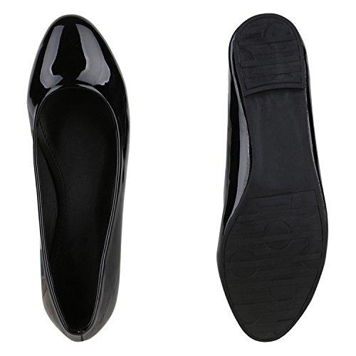 Damen Ballerinas Slipper Loafers mit Spitze Frühling in mehreren Farben 36 -41 Schwarz Lack