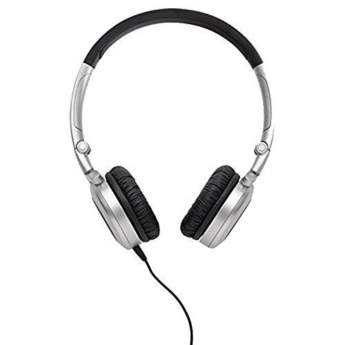 AKG K430 Auricolari Morbidi Pieghevoli Portatili con Cavo a Lato Singolo e Controllo Volume Integrato, Compatibili con Dispositivi Apple iOS e Android, Nero/Argento