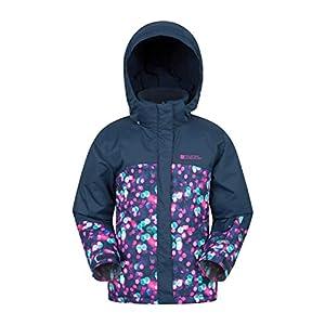 Mountain Warehouse Bedruckte Kinder-Skijacke mit Nachtlicht-Motiv – wasserfester Regenmantel, Schneerock, abnehmbare Kapuze, Fleece-Futter, warm – für Winter-Snowboarden