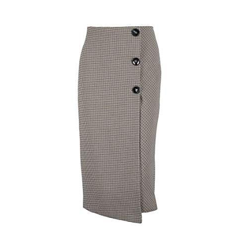 6935cf7223 Jinglive Mujeres Enrejado Faldas con Botón Cintura Alta Falda Sexy Apretado  Paquete de Cadera Midi Faldas