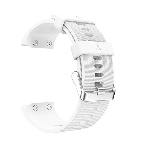 SEWORLD Ersatzarmbänder Kompatibel für Garmin Forerunner 35 Uhrenarmband Armband aus Ersatz-Edelstahlarmband Silikagel-Weichbandgurt Strap Armband Bügel Uhrenarmbänder Weiß