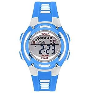 Kinderuhr Jungen Mädchen,50M(5ATM) wasserdichte Digitale Uhren Sport LED Multifunktions Armbanduhr für Kinder mit Alarm(Rosa/Blau/Schwarz/Grün/Lila)