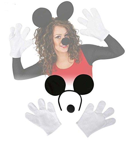 Comic-Maus Set, 4-tlg., Handschuhe, Harreif und - Maus Kostüm Nase