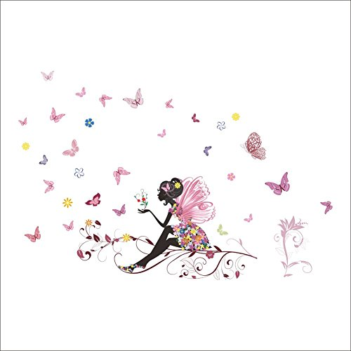 Kibi Wandaufkleber Wandtattoo Wandsticker, Schmetterlings Fee Aufkleber Schlafzimmer Wohnzimmer Wände Mädchen Schmetterling Blumen-Fee Aufkleber