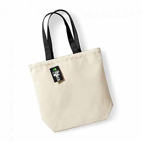 Westford Mill Fair Trade Camden Shopper / Einkaufstasche, 13 Liter Natur/Schwarz