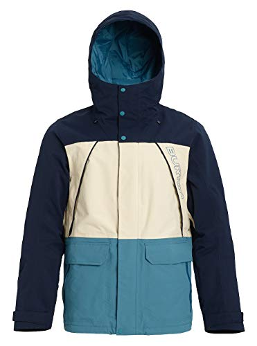 Burton Breach Veste de Snowboard Homme, Dress Almond Milk/Storm Blue, FR : L (Taille Fabricant : L)