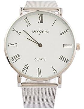 Souarts Paar Armbanduhr Deko Uhr mit Batterie Charm Geschenk Silber Farbe