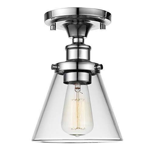 Retro Industrie Deckenleuchte- Chrome mit Trichter Klar Glasschirme, Vintage Stil Edison Loft Pendelleuchte Beleuchtung - Küchen Deckenleuchte, E27 Basis für Esszimmer, Cafe, Bar Lampen (6.5