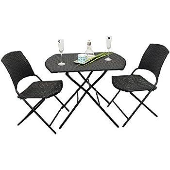 Aktive 61008 Set di mobili da Giardino in Rattan Sintetico e Acciaio: Tavolo (70x70x60) + 2 sedie (44x47x83)