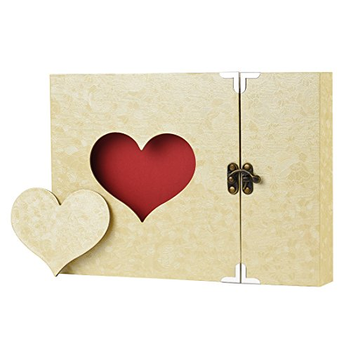 Firbon a4 album diy per foto, scrapbook, sticker. diario creativo con incisione a forma di cuore, idea regalo (giallo)