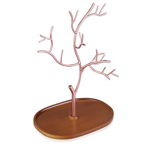 Navaris Schmuckbaum aus Holz und Metall - Schmuckständer für Ketten Ohrringe Ringe - Deko Schmuck Aufbewahrung - Ständer in Kupfer Dunkelbraun