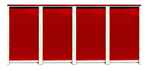 BBT@ | Hochwertige Mülltonnenbox für 4 Tonnen je 240 Liter mit Klappdeckel in Rot / Aus stabilem pulver-beschichtetem Metall / Ohne Stanzung / In verschiedenen Farben sowie mit unterschiedlichen Blech-Stanzungen erhältlich / Mülltonnenverkleidung Müllboxen Müllcontainer