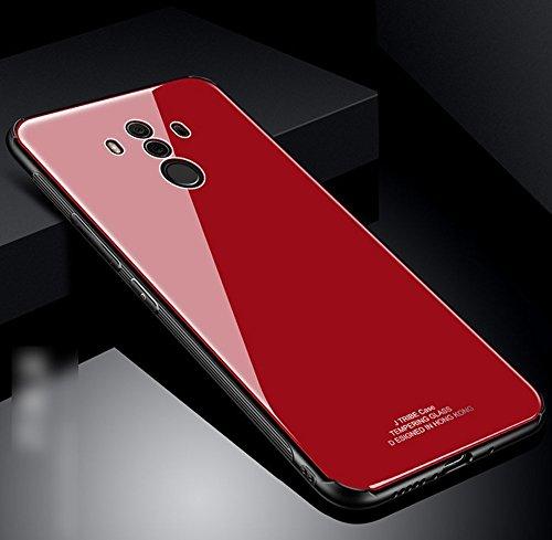 Huawei Mate 10 Pro Hülle, Hpory TPU Silikon Bumper Gehärtetes Glas Rückschale Handytasche Schutz Case Dünn Hülle Protector Tasche Schutzhülle Etui für Huawei Mate 10 Pro + 1 x Hpory Stylus-(Rot)