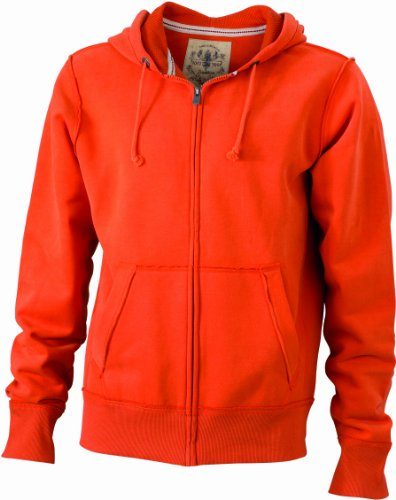 James & Nicholson Herren Sweatshirt Kapuzenjacke Men's Vintage Hooded Sweatshirt Orange (dark-orange)