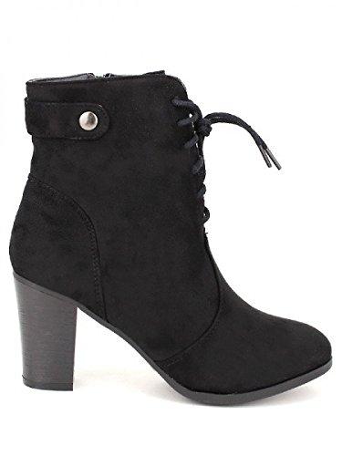 Cendriyon, Bottine simili peau Noire ZAMCA Chaussures Femme Noir