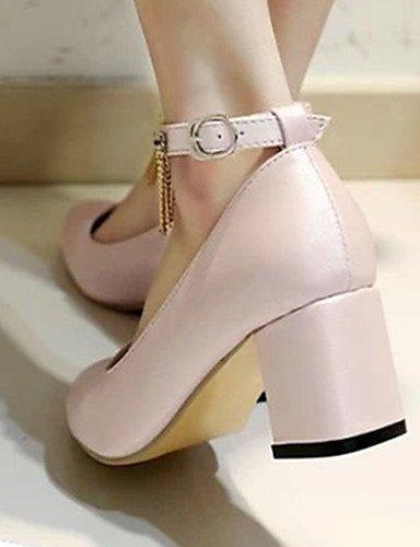 GS~LY Da donna-Tacchi-Casual-Tacchi-Quadrato-PU (Poliuretano)-Rosa / Bianco pink-us8 / eu39 / uk6 / cn39