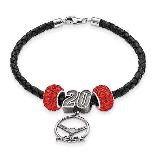 Lex & LU logoart Sterling Silber Leder Armband w/2rot Kristall Beads # 20Lenkung