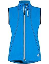 Mujer's Gilet Cortavientos de Running y Ciclismo Zephyr de Time to Run 40 Calipso Azul