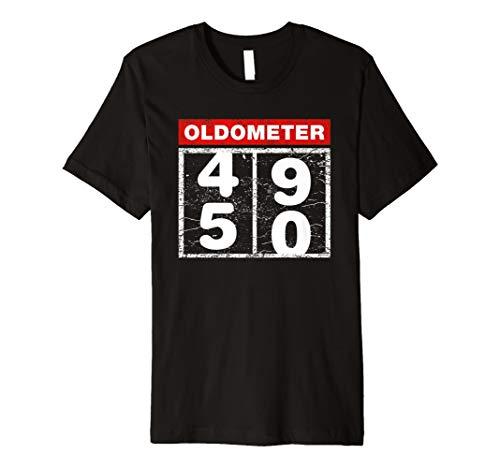Funny 50th Birthday Gift Ideas Oldometer Racing Car T Shirt