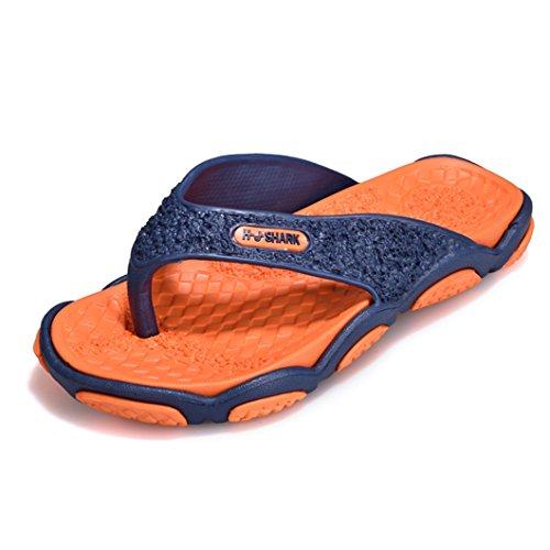 Bravover Herren Flip Flops Badelatschen Herren Zehenstegpantolette Herren Zehentrenner Flats Sommer Strand Pantoffeln Badeschuhe Herren Sommer Pantoffeln Orange