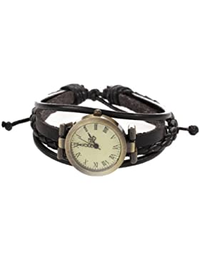 TOOGOO (R) Armbanduhr Quarz PU-Leder Armbanduhr Retro Mode Weibliches Geschenk - Schwarz